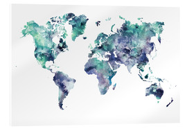 Acrylic print  World Map Aquamarine - Dani Wijeyesinghe