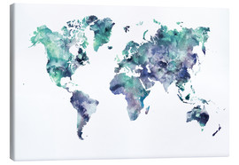 Dani Wijeyesinghe - World Map Aquamarine