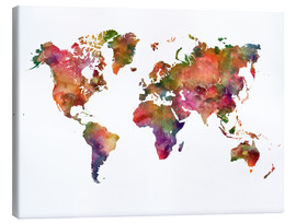 Canvas  Colourful world map - Dani Wijeyesinghe