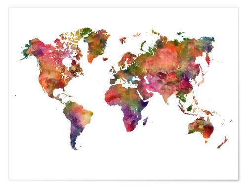 Premium poster Colourful world map