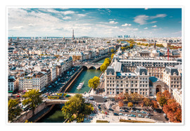 Premium poster View over Paris, from Notre-Dame