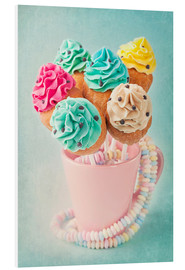 Foam board print  Colorful cupcake pops on blue background - Elena Schweitzer