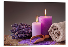 Aluminium print  Spa still life with candles and lavender - Elena Schweitzer