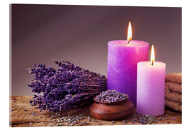 Acrylic print  Spa still life with candles and lavender - Elena Schweitzer