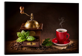 Acrylic glass  Coffee mill with beans and green leaves and a cup of coffee - Elena Schweitzer