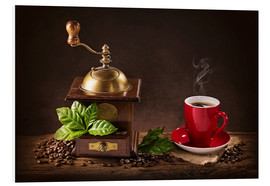 Foam board print  Coffee mill with beans and green leaves and a cup of coffee - Elena Schweitzer