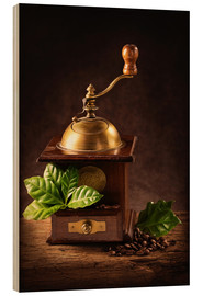 Wood print  Coffee mill with beans and green leaves and a cup of coffee - Elena Schweitzer