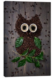 Canvas print  Coffee owl from beans, leaves and cups - Elena Schweitzer