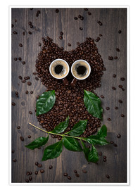 Premium poster  Coffee owl from beans, leaves and cups - Elena Schweitzer