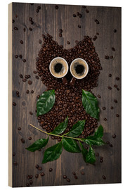 Wood print  Coffee owl from beans, leaves and cups - Elena Schweitzer