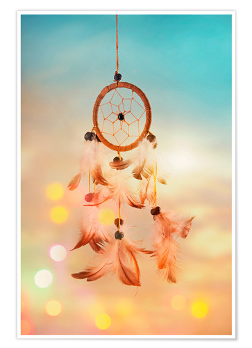Premium poster Dream catcher and abstract bokeh background