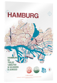 Acrylic print  Hamburg city motif map - campus graphics