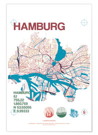 Premium poster Hamburg city motif map