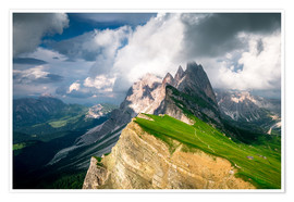 Premium poster  Seceda - South Tyrol - Mountain panorama - Sebastian Jakob