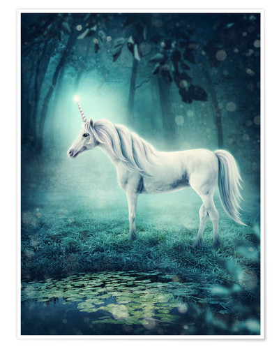 Premium poster Unicorn in the magic forest