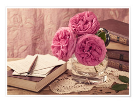 Premium poster Roses and the books