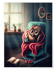 Premium poster Owl with a cup of coffee