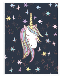 Premium poster  Unicorn at night - Kidz Collection