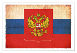 Premium poster  Old flag of Russia with coat of arms in grunge style - Christian Müringer