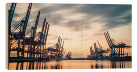 Wood print  Hamburg Harbour Sunset - Justin Schümann