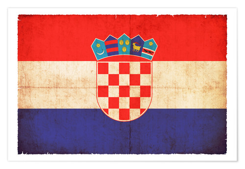 Premium poster Old flag of Croatia in grunge style