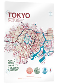 Acrylic print  Tokyo city map - campus graphics