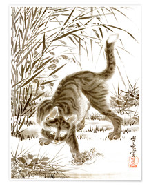 Premium poster  Cat Catching a Frog - Kawanabe Kyosai