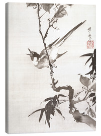 Canvas print  Singing Bird on a Branch - Kawanabe Kyosai