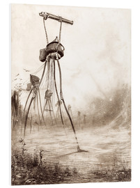 Foam board print  Martian tripods advancing in a line - Henrique Alvim Correa