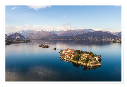 Premium poster Aerial view of Isola Bella on lake Maggiore at sunset, Italy