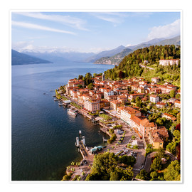 Premium poster Aerial view of Bellagio on beautiful lake Como