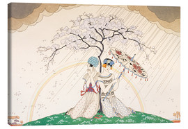 Canvas  Two women sheltering from the rain, under a tree - Georges Barbier