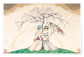 Premium poster  Two women sheltering from the rain, under a tree - Georges Barbier