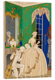 Wood print  A woman and musician - Georges Barbier
