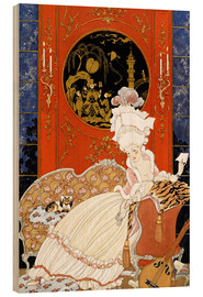 Wood print  A woman reading a letter - Georges Barbier