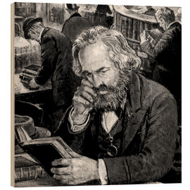 Wood print  Karl Marx - English School