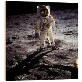 Wood print  1st steps of human on Moon