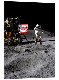 Acrylic print  Astronaut of the 10th manned mission Apollo 16 on the moon
