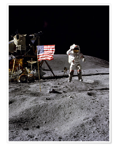 Premium poster Astronaut of the 10th manned mission Apollo 16 on the moon