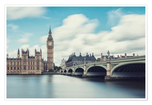 Premium poster LONDON, Big Ben and Westminster Bridge