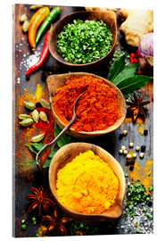 Acrylic print  Spices and herbs over wood