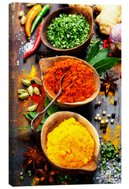 Canvas print  Spices and herbs over wood