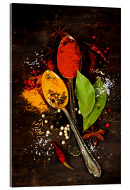 Acrylic print  Bright spices on an old wooden board