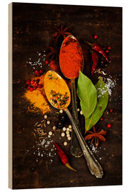 Wood print  Bright spices on an old wooden board