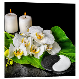 Acrylic print  Spa Concept with Candles and Orchids