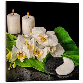 Wood print  Spa Concept with Candles and Orchids