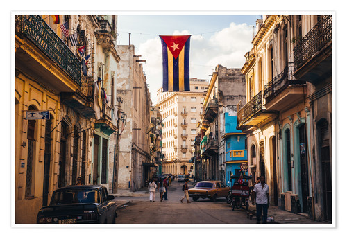 Premium poster A Cuban flag with holes