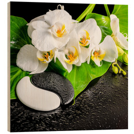 Wood print  Spa Arrangement with White Orchid