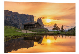 Foam board print  Alpe di Siusi with Schlern at sunset - Dieter Meyrl