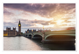 Premium poster LONDON Westminster Bridge and Big Ben at Sunset